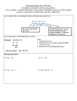 Combining Like Terms and Equations Packet