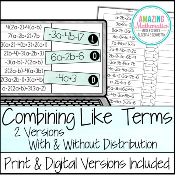 Combining Like Terms and Simplifying Expressions Matching Activity
