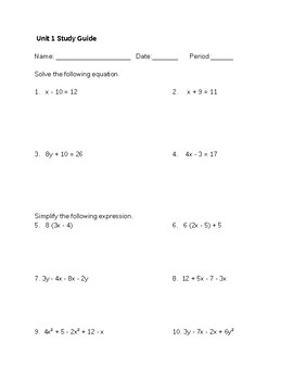 Combining Like Terms and Solving Equations Study Guide