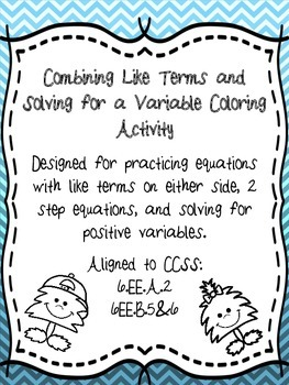 Combining Like Terms and Solving for a Variable Practice Coloring Activity