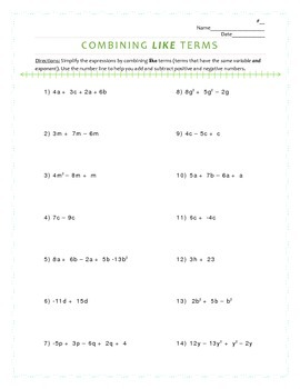 Combining Like Terms in Expressions Worksheet