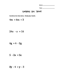 Combining Like Terms - simple
