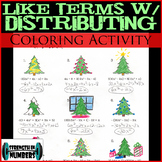 Combining Like Terms w/ Distributing Christmas Tree Coloring Activity