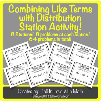 Combining Like Terms with Distribution Station Activity!