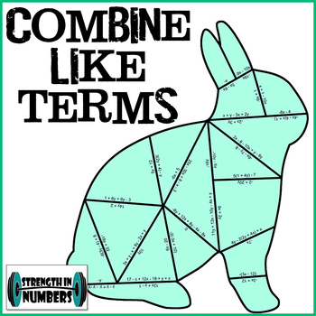 Combining Like Terms with Distributive Property Bunny Rabbit Puzzle