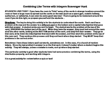 Combining Like Terms with Integers Scavenger Hunt