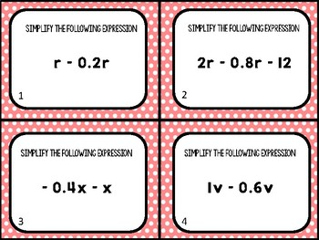 Combining Like Terms with Rational Number Task Cards (24 cards)