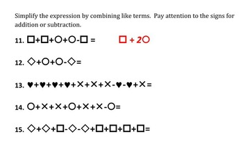 Combining Like Terms with Shapes