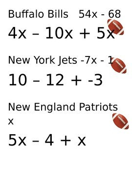 Combining Like Terms with football teams