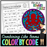 COMBINING LIKE TERMS & DISTRIBUTIVE PROPERTY MATH COLOR BY NUMBER, QUIZ #1