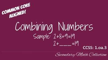 Combining Numbers CCSS 1.oa.3