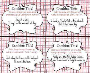 Combining Sentences Task Cards, Grammar Practice, Common Core Aligned