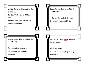 Grammar: Combine Sentences Using Conjunctions: Task Cards
