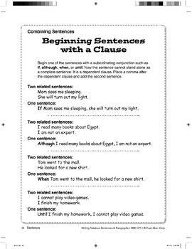 Combining Sentences: Beginning with a Clause