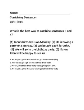 Combining Sentences - Exit Ticket