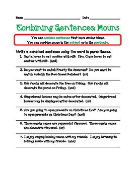 Combining Sentences - Nouns - Winter Theme