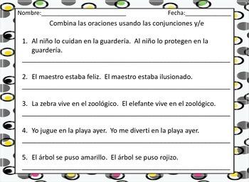 Combining Sentences - Spanish - Combinando Oraciones