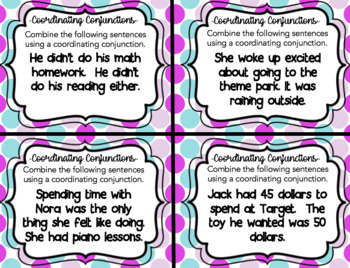 Combining Sentences with Coordinating Conjunctions-Task Cards (Grade 3-5)