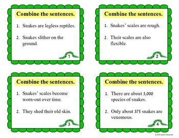 Combining Sentences Task Cards- All About Snakes