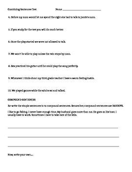 Combining Sentences Test