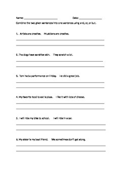 Combining Sentences Worksheet by Lynnsie Phistry | TpT