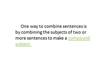 Combining Sentences Worksheet - Writing Compound Subjects