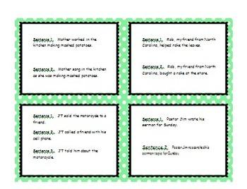 Combining Sentences Worksheet - Writing Compound Verbs
