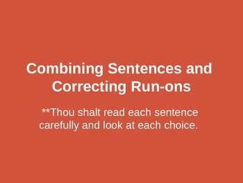 Combining Sentences and Correcting Run-ons powerpoint