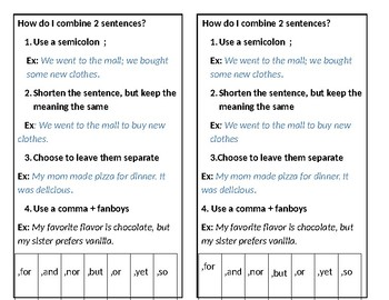 Combining Sentences handout/reference sheet  TEKs and CCS