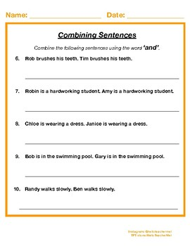 Combining Sentences using the word 'and' (Synthesis)