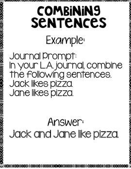 Combining Sentences with Same Predicate Language Arts Notebook
