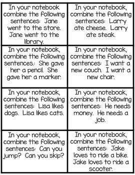 Combining Sentences with Same Subject Language Arts Notebook
