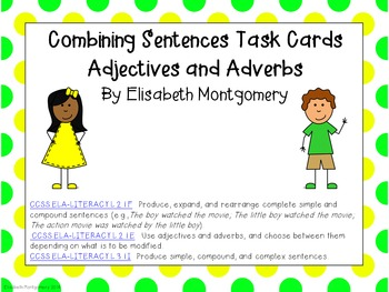 Task Cards Combining Simple Sentences Adverbs and Adjectives