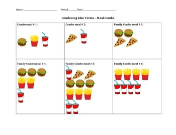 Combining like Terms - Meal combo