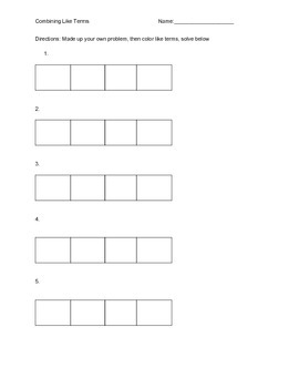 Combining like terms Worksheet Scaffolded Packet