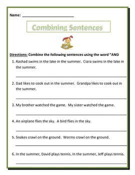 """Combining sentences using the word """"AND""""."""