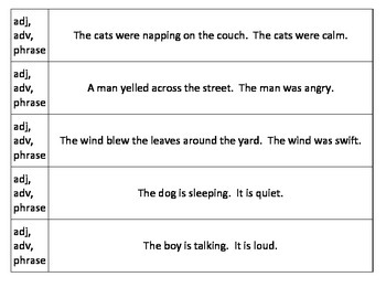 Combining sentences with adjectives, adverbs, and phrases
