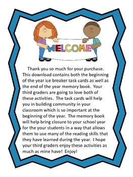 Combo 3rd Grade Beginning of the Year Task Cards and End of the Year Memory Book