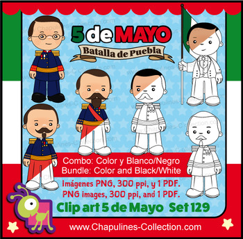 Combo 5 de Mayo Clipart color and black & white, Batalla de Puebla, Set 129