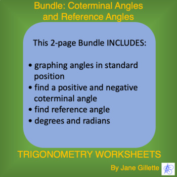 Bundle Coterminal Angles And Reference Angles By Jane Gillette Tpt