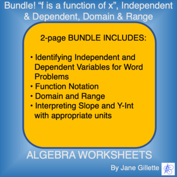 """Combo Set: """"f is a function of x"""", independent and dependent, domain and range"""