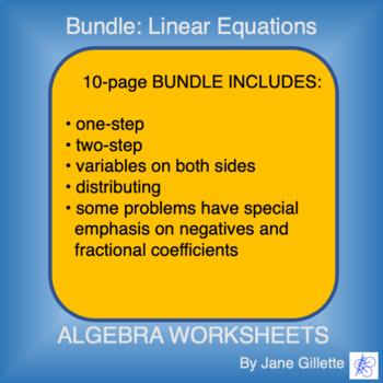 Combo Set: Linear Equations:A5a,A5b,A6a, A6b, A7a, A7b, A7