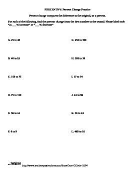 Combo Set: Percent Change Calculating: