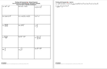 Combo Set: Rational Exponents and Radical
