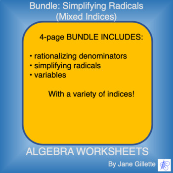 Combo Set: Simplifying Radicals (Mixed Indices)