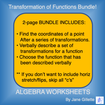Combo Set: Transformations of Functions