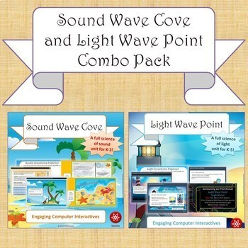 """NGSS Physical Science Bundle: """"Sound Wave Cove"""" & """"Light Wave Point"""" 