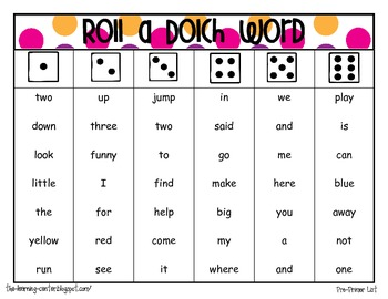 Combo pack- Roll a letter & Roll a Dolch word pre-primer {dice game}