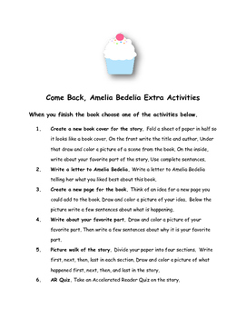 Come Back, Amelia Bedelia By Peggy Parish Comprehension Packet