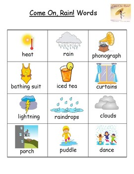 Come On, Rain! Vocabulary Word List